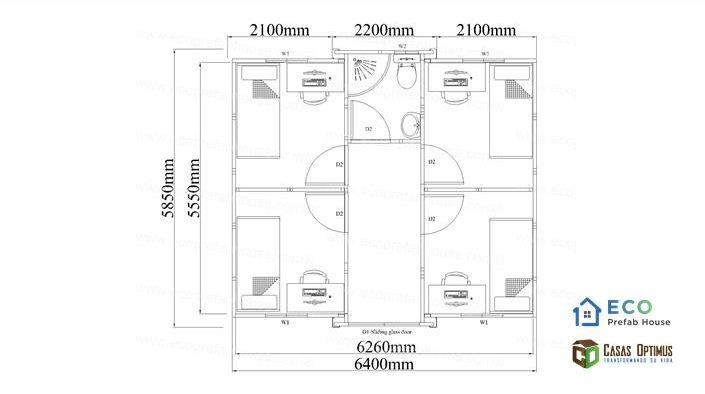 Interior cuatro cuartos casa modular de lujo