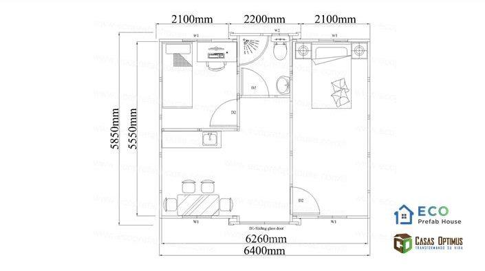 Interior dos cuartos casa modular de lujo