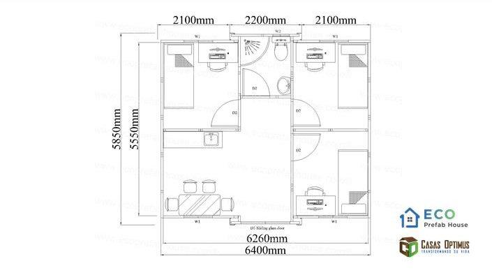 Interior tres cuartos casa modular de lujo